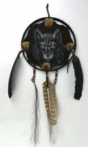 "Wolf Wall Art Dream Catcher Leather Pastel 10"" Dia EC - $12.73"