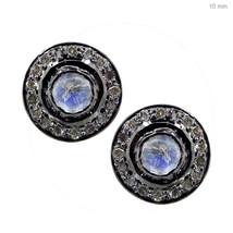 14k Gold Rainbow Moonstone Stud Earrings Diamond Pave Round 925 Sterling Silver - $139.00