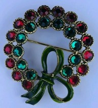 Vintage Weiss Christmas Wreath Brooch Red and Green Rhinestones Signed - $43.47