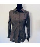 New- Cruel - western cowgirl lace trim medium snap button down brown lac... - $28.12