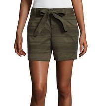 "Liz Claiborne Tie Front Textured 5"" Chino Shorts Size 14 New Msrp $37.00 - $14.99"