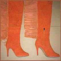 Long Fringe Russet Suede Leather Over the Knee Thigh High Square Heel LA Boots image 4