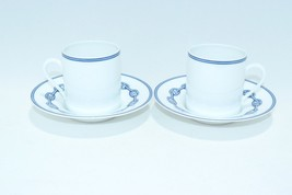 Hermes Chaine D'ancre Demitasse Cup and Saucer 2 set Blue Dinnerware YA7180 - $167.31