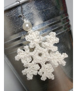 Crochet Snowflake Earrings / Crochet Earrings / Handmade Snowflake Earrings - $11.00