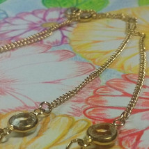 "Vintage Jewelry: 48""GoldToneNecklace W/Crystal Rhinetones Marked ""Sarah""... - $8.90"