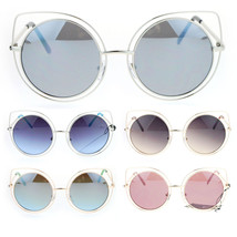 SA106 Womens Wire Rim Bat Shape Cat Eye Round Circle Lens Sunglasses - $12.95