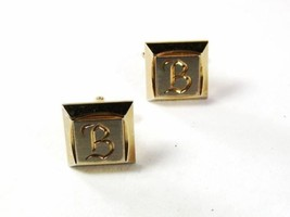 1950's Silver & Gold Tone Initial B Cufflinks By HICKOK USA 7116 - $22.76