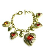 Red Bleeding Heart Angel Wing Toggle Bracelet With Dangle Charms - $12.86