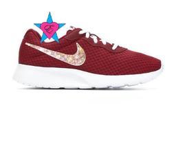 Women Glitter AB Crystal Burgundy Deep Red Nike Tanjun Sneakers - £102.71 GBP+