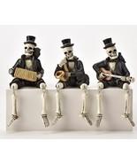 Skeleton Shelf Sitters Playing Musical Instruments GUITAR ACCORDION SAXO... - $54.99