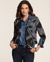 CHICO'S Black Paisley Stripe Open Front Cotton Blazer Moto Jacket Size 2... - $57.92