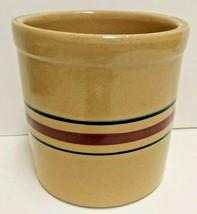 Vintage Roseville Pottery Crock Blue Red Stripes USA Farmhouse Americana - $37.39