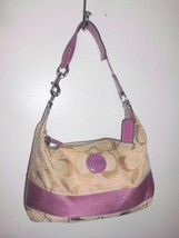 COACH F15197 Signature Stripe Canvas Duffle Hobo Medium Shoulder Bag Pur... - $138.59
