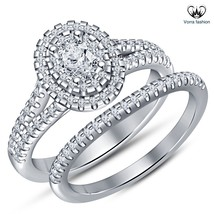 Bridal Engagement Ring Set Oval Shape CZ White Gold Plated 925 Sterling Silver - $83.99