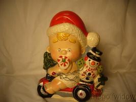 Vaillancourt Folk Art Baby Santa on a Trike with Snowman Signed  image 1