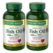 2X Nature's Bounty ODOR-LESS Fish Oil 1400mg, 980mg Omega-3 130 Coated S... - $42.03