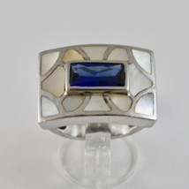 Silver Ring 925 Rhodium with Nacre White and Crystal Blue Rectangular image 2