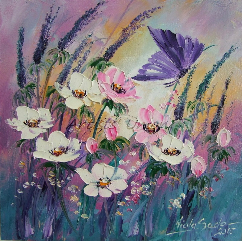 Primary image for Meadow Original Oil Painting Purple Butterfly White Pink Flower Lavender Impasto