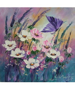Meadow Original Oil Painting Purple Butterfly White Pink Flower Lavender Impasto - $75.00