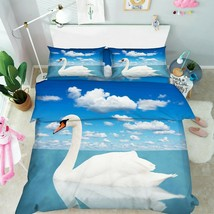 3D White Cloud Beautiful Swan KEP433 Bed Pillowcases Quilt Duvet Cover Kay - $66.96+