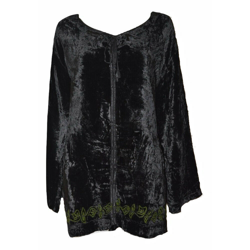 Primary image for WOMENS TUNIC TOP VINTAGE STYLE VELVET EMBROIDERED LEAF PATTERN TIE NECK 20/22