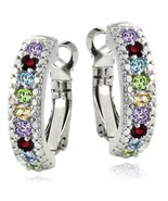 3.00 Ct Genuine Multi Gemstone Leverback Earring Embellished with Swarov... - $28.03