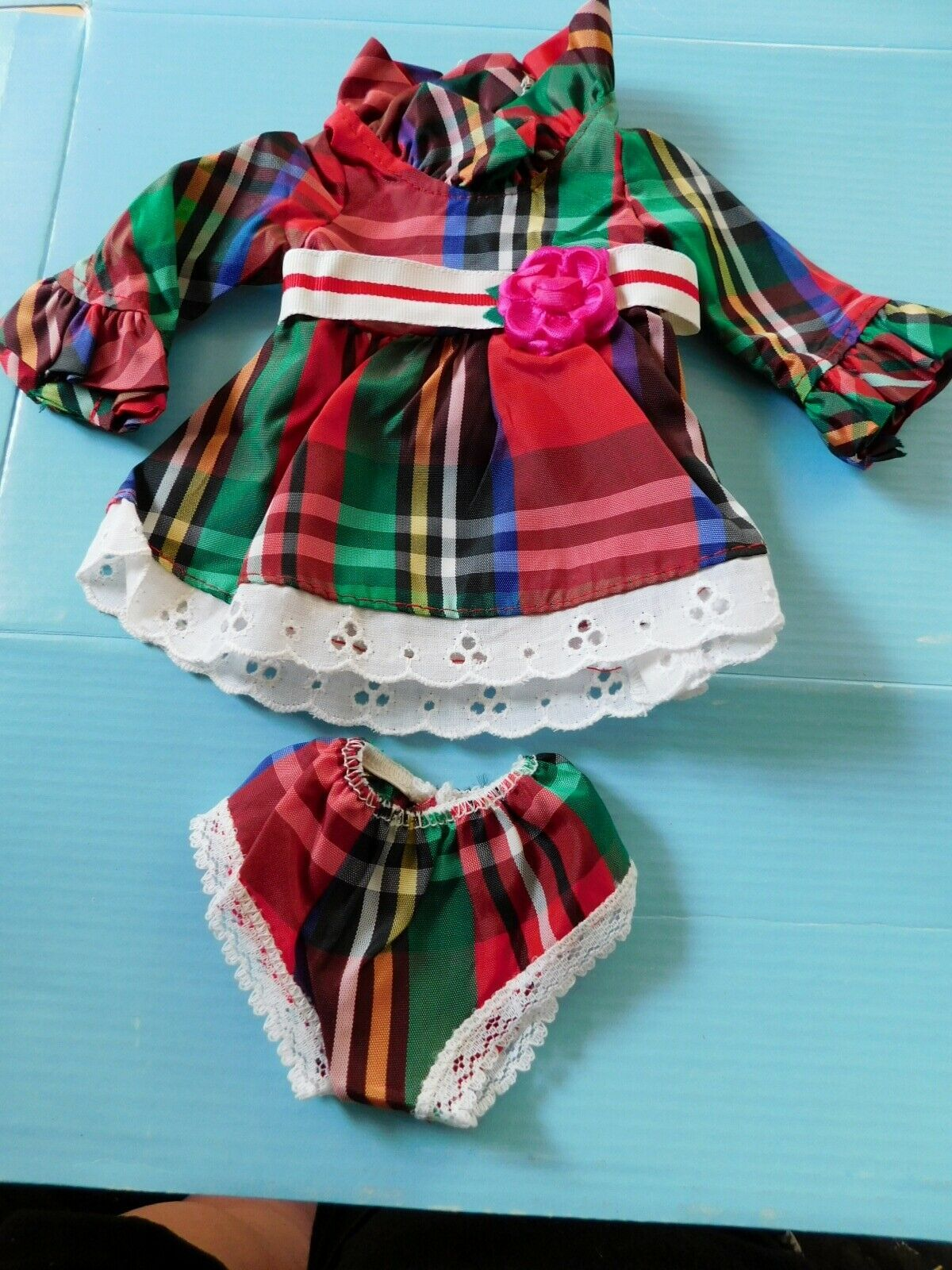 Primary image for 1970 IDEAL VELVET LOOK AROUND PLAID DRESS & PANTIES CrissyFactory Overstock MIP