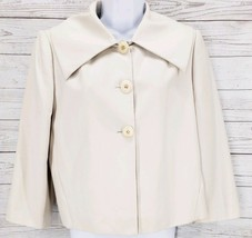 Calvin Klein Bolero Jacket Sz 10 Women Ivory 3/4 Sleeve Pleated Blazer - $25.26