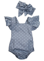 2Pcs/Set Polka Dot Newborn Baby Girls Clothes Butterfly Sleeve Romper Ju... - $10.39