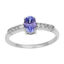 925 Sterling Silver Oval Cut Tanzanite Half Eternity Wedding Band Solita... - $29.73