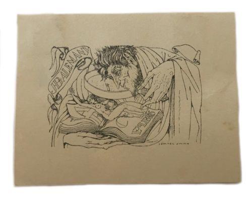 Ismael Smith Ex Libris Exlibris Bookplate Book Plate Erotic Nude JB Alemany