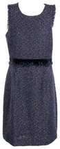 J Crew Women's Tweed Sleeveless Dress Sheath Fringe Woven Sparkle Blue 2... - $80.95