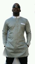 Odeneho Wear Men's Checked Cotton Top/ Black  Bottom. African Clothing. - $129.99