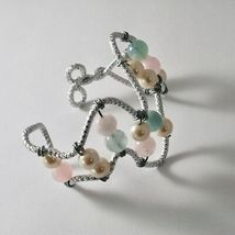Bracelet Aluminum with Aquamarine Multi and Pearls image 3