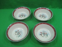 Vintage Set of Four (4) Royal Seasons Stoneware Christmas Bowls Snowmen  - $16.79