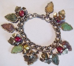 "Vintage Leaves and Berries Charms Bracelet 7"" Unsigned - $29.95"