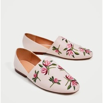 ZARA Floral Embroidered Leather Flats (NWT) - $37.00