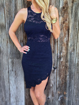 Unomatch Women Summer Lace Decorated Sleeveless Fitted Dress Blue - $24.99