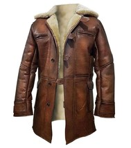 Bane Dark Knight Rises Tom Hardy Fur Shearling Brown Genuine Leather Trench Coat image 2