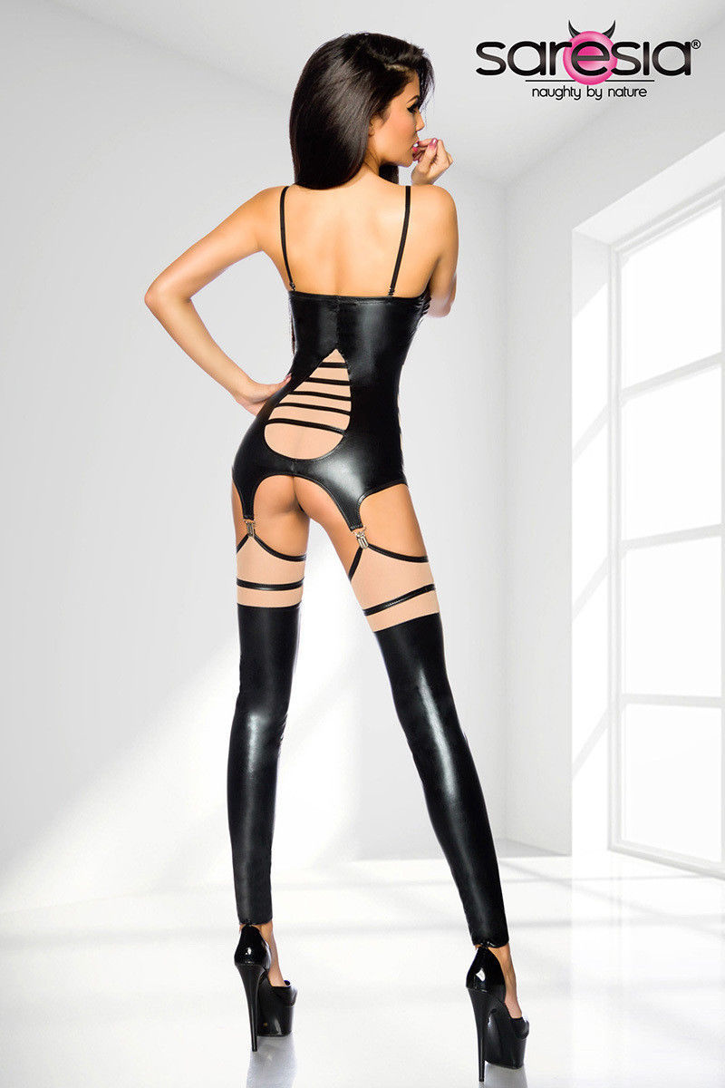 wetlook-suspender Set Top String Gauntlets Suspender Belt SARESIA découpes image 4