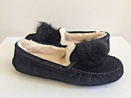 UGG DAKOTA POM POM BLACK SHEARLING LINED SLIPPERS US 6 / EU 37 / UK 4.5 NIB - $83.22