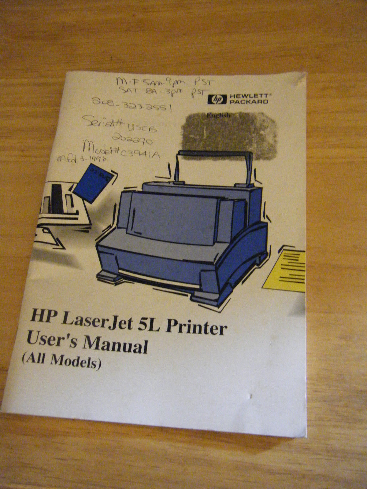 Hp laserjet 5l 6l gold / pro service manual (contains parts and.