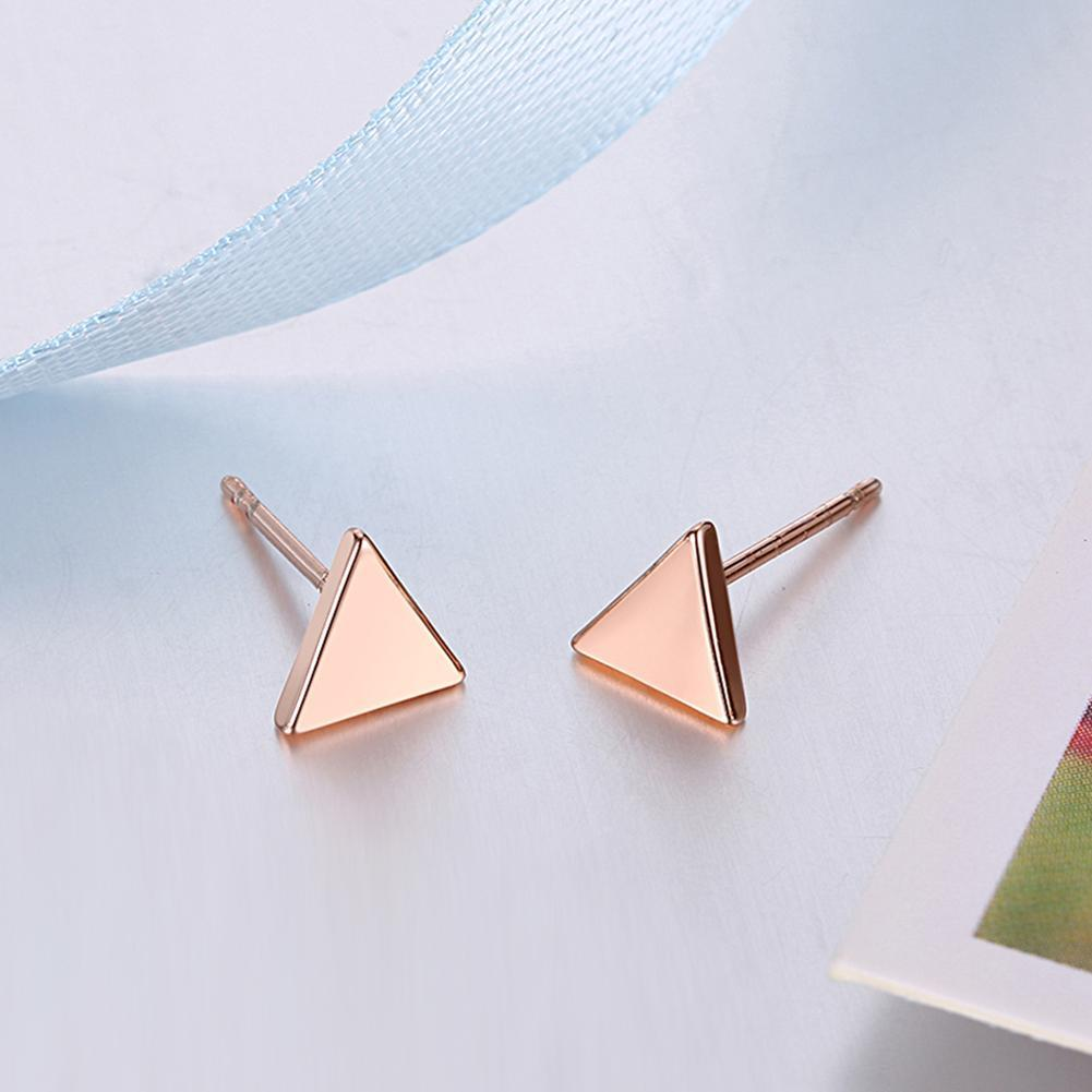 18K Rose Gold Plated Triangle Shape Stud Earring