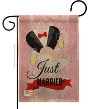 Just Married Burlap - Impressions Decorative Garden Flag G165102-DB - $22.97