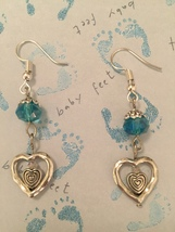 Double Heart Aqua or Pink Crystal Earrings - $13.00