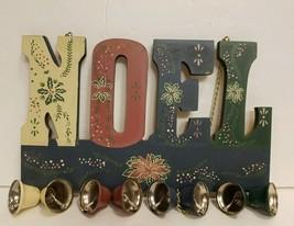 NOEL Hanging Sign With Jingle Bells Blues & Pinks Christmas Holiday Door... - $7.19