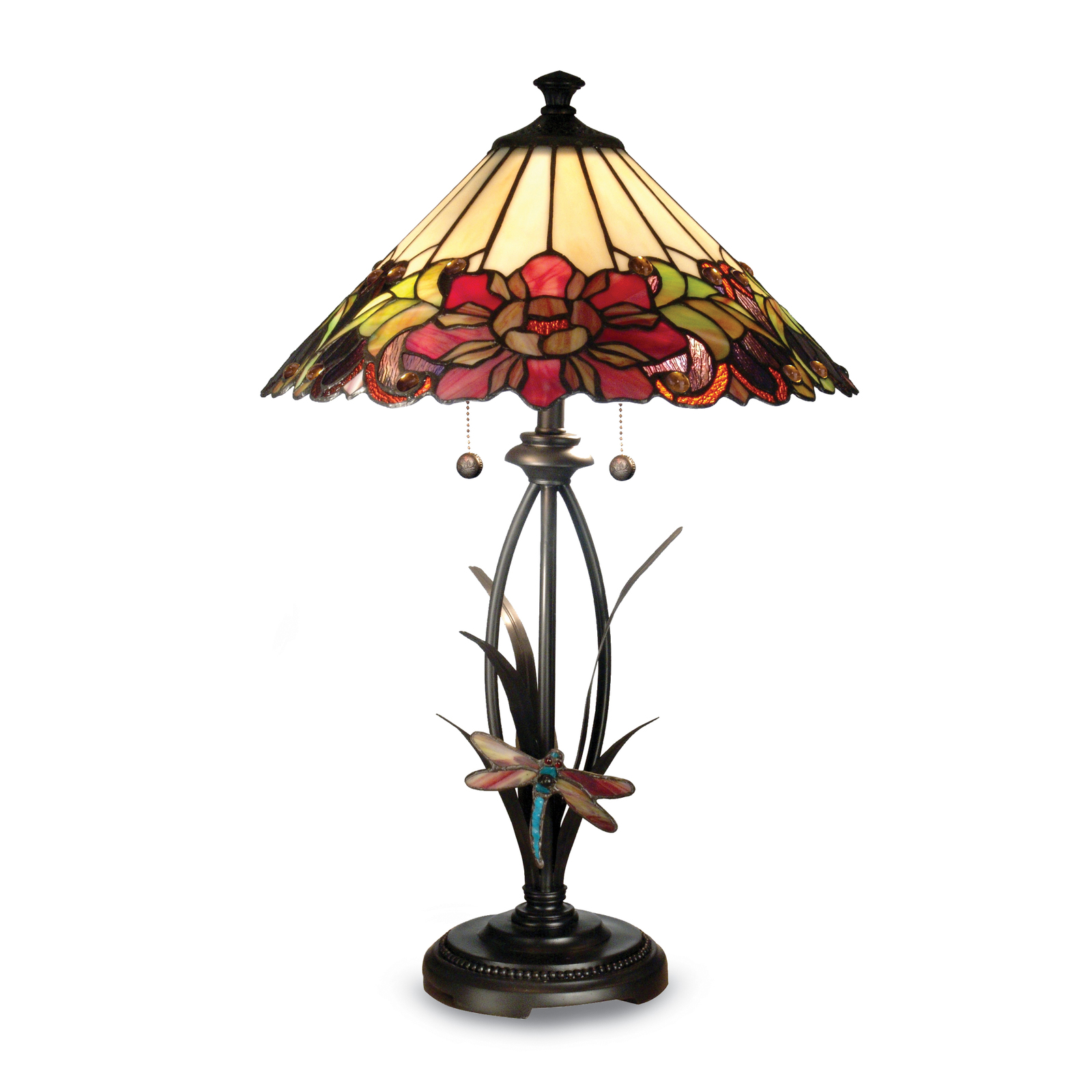 Primary image for Non Metal Dale Tiffany Floral Dragonfly Table Lamp (Length=16) (Width=16) [Gm184