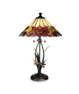 Non Metal Dale Tiffany Floral Dragonfly Table Lamp (Length=16) (Width=16... - $382.62