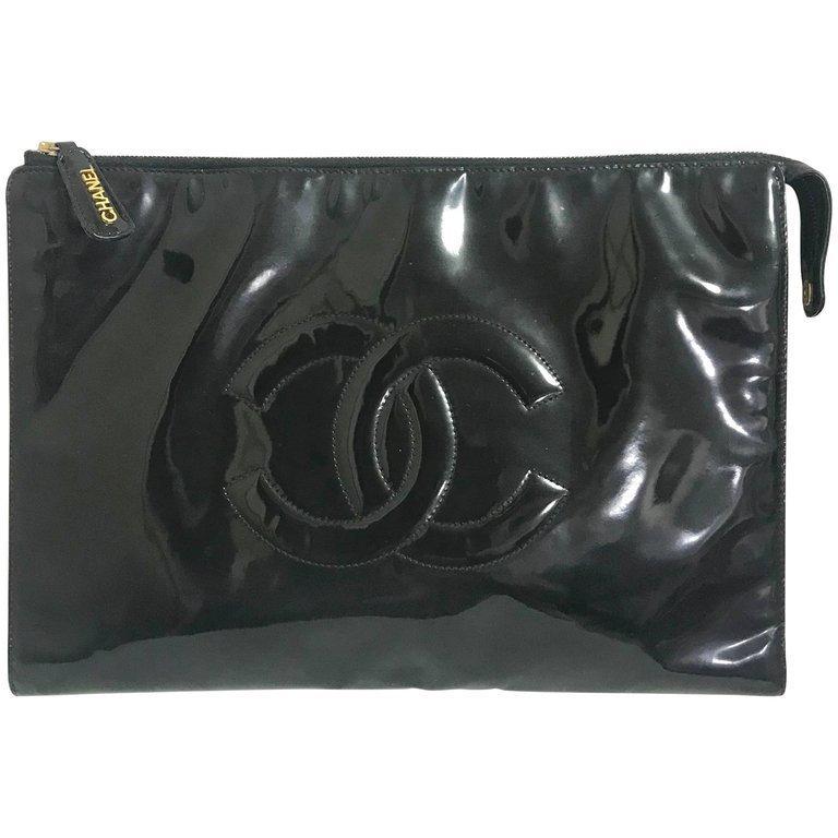 Vintage CHANEL classic black patent enamel document bag, large clutch purse. - $1,082.00