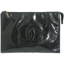 Vintage CHANEL classic black patent enamel document bag, large clutch pu... - $1,082.00